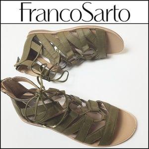 FRANCO SARTO Olive Brisbane Gladiator Sandals!